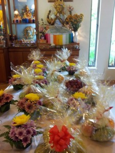 Offerings of flowers, fruits, cakes etc to the holy beings